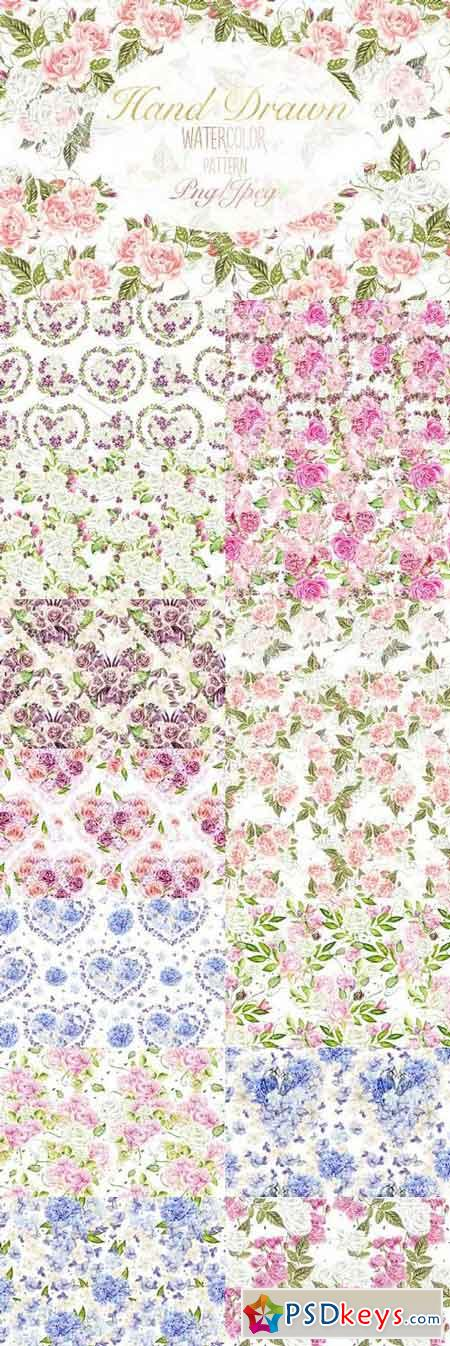 15 Hand Drawn Watercolor PATTERNS 1158026