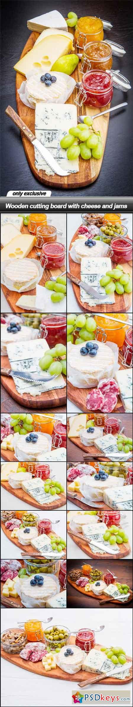 Wooden cutting board with cheese and jams - 14 UHQ JPEG
