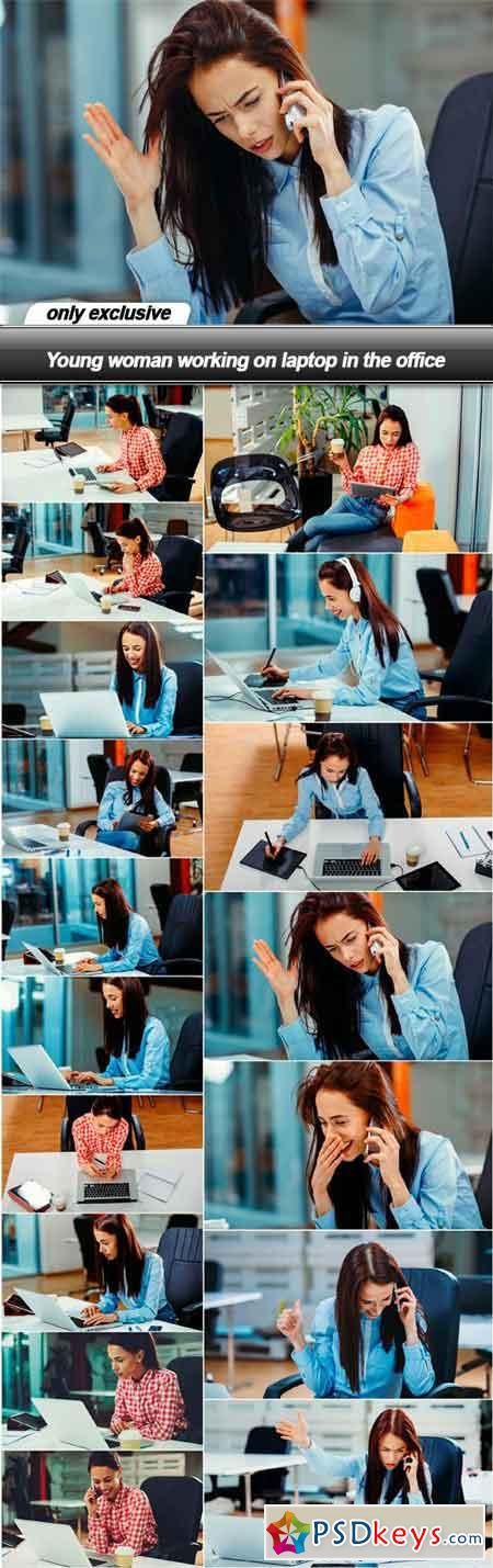 Young woman working on laptop in the office - 17 UHQ JPEG