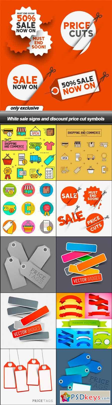 White sale signs and discount price cut symbols - 11 EPS
