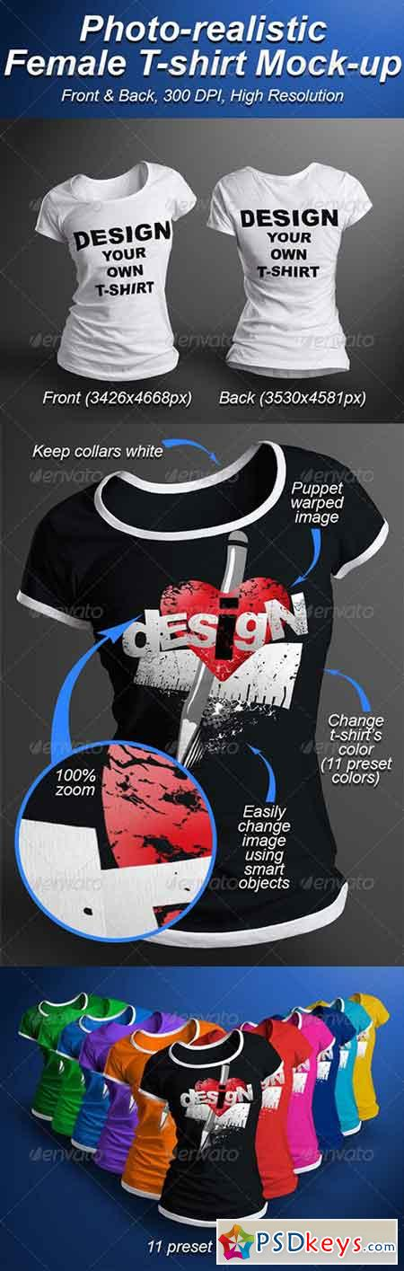 Female T-shirt Mock-up Photorealistic 3D Look 5206052