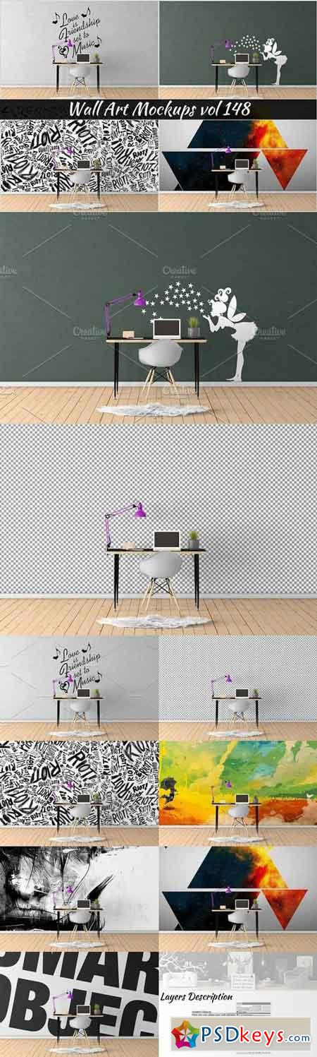 Wall Mockup - Sticker Mockup Vol 148 1101839