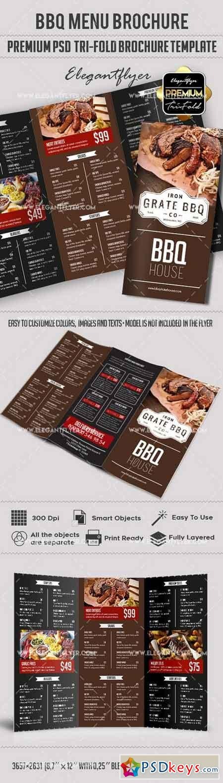 bbq menu premium tri fold psd brochure template food menu free download photoshop vector. Black Bedroom Furniture Sets. Home Design Ideas