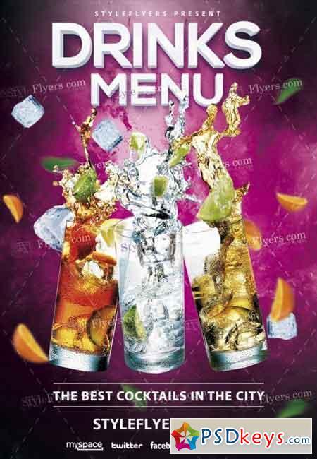 Drinks Menu PSD Flyer Template