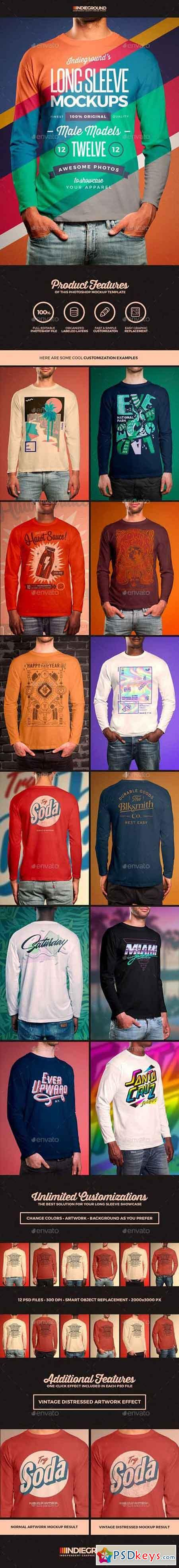 Men Long Sleeve T-Shirt Mockups 19758057