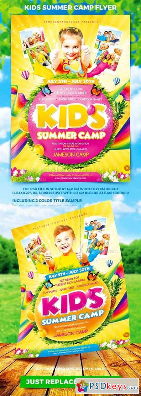 Kids Summer Camp Flyer 19761069 » Free Download Photoshop Vector