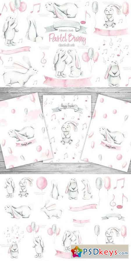 Easter Pastel Bunny clipart & Cards 1398411