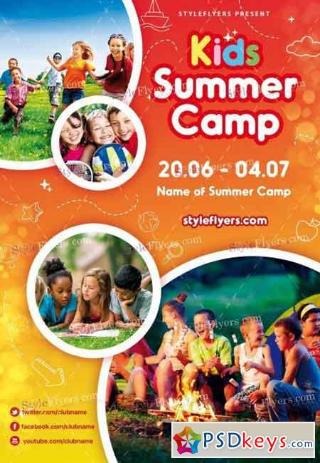 Kids Summer Camp Psd Flyer Template   Free Download Photoshop
