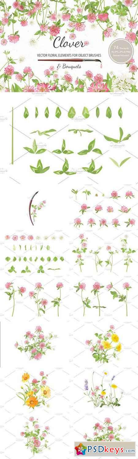 Vector object brushes. Clover 1213174