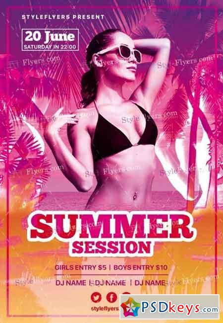 Summer Session PSD Flyer Template
