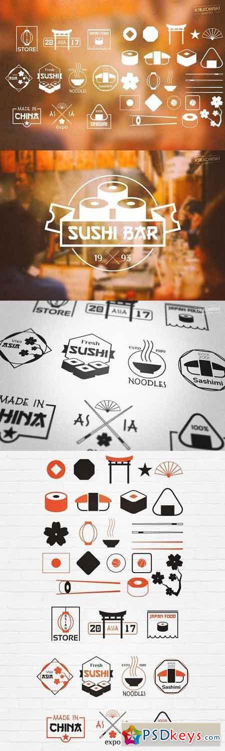 Asian Stamp Badges Logos 1063048