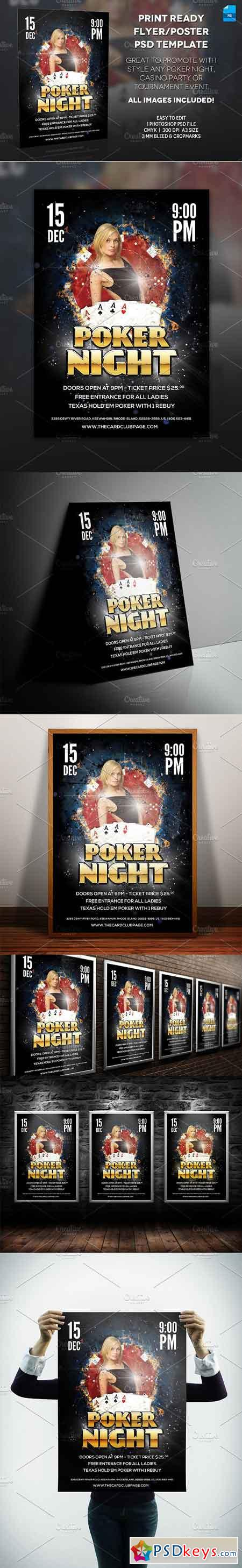 Poker Night Poster Print Template 183023