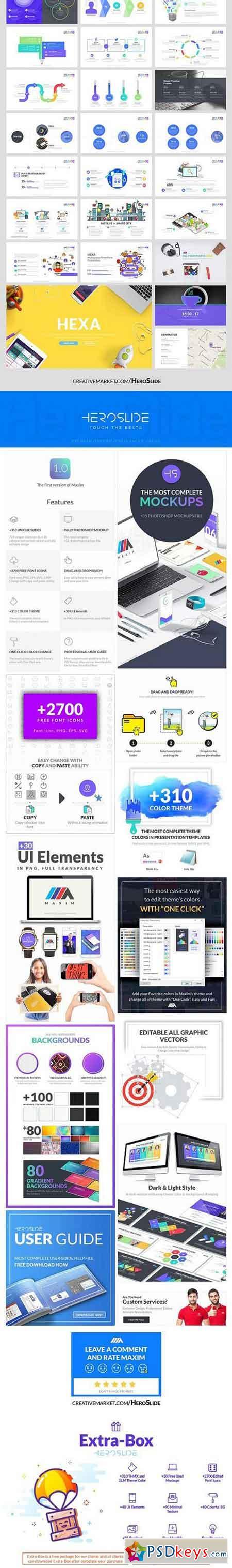 Hexa , Business Powerpoint Template 1351497