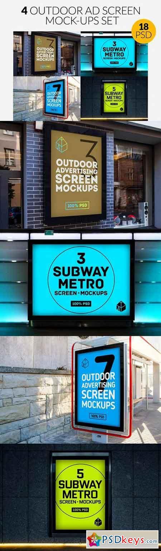 4 Outdoor Ad Screen Mock-Ups Set 725848