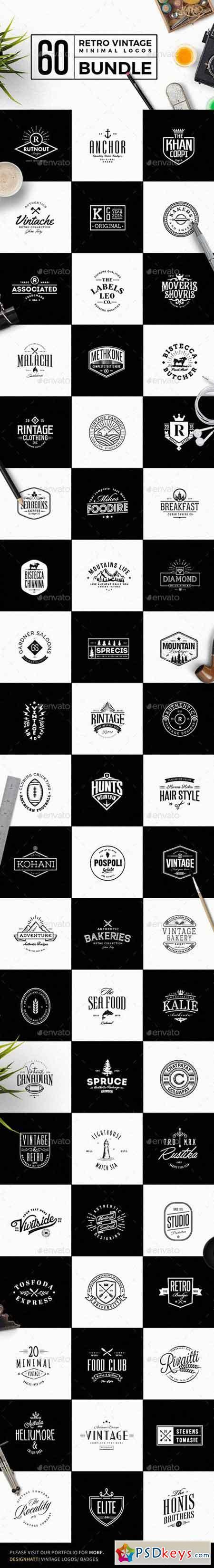 60 Vintage Minimal Logos Bundle 19373184