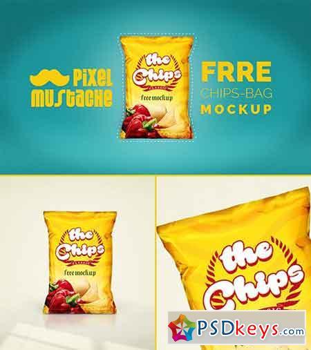 Realistic Chips Bag PSD Mockup