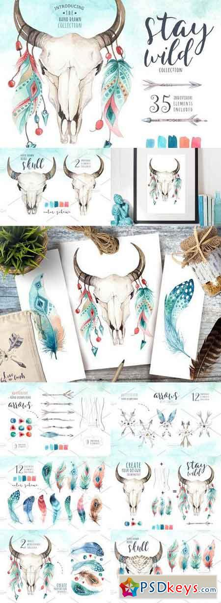 Watercolor boho skulls II 1181238