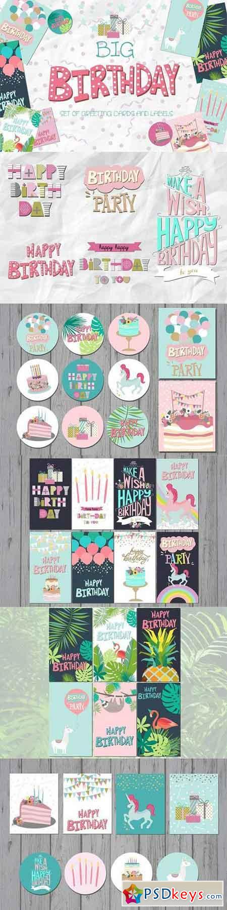 Happy Birthday cards and labels 1183821