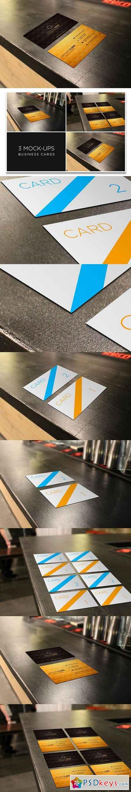 3 Business Cards Mockup Restaurant 137333