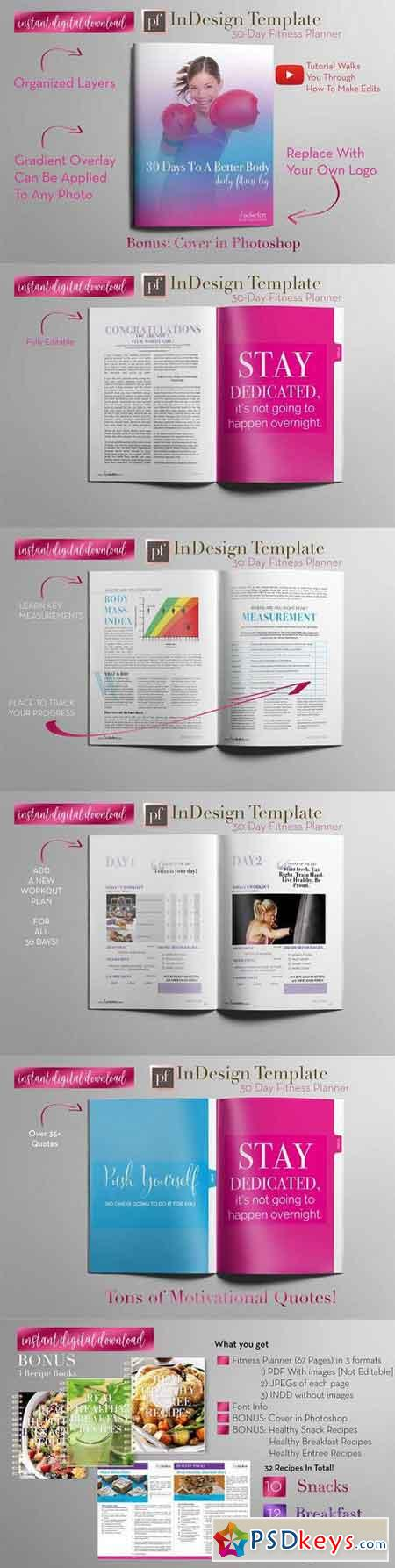 Fitness Planner InDesign Template 1205805