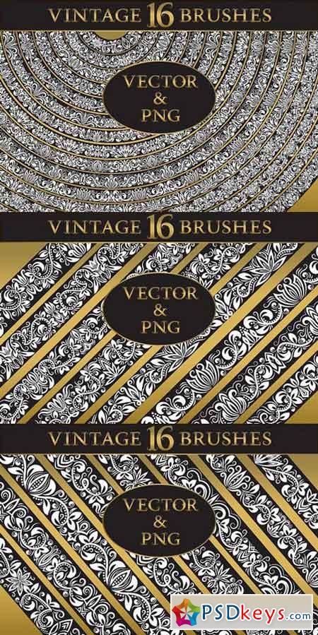 16 vintage floral brushes 1342457