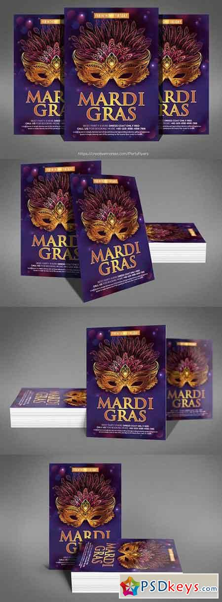 Mardi Grass Party Flyer Template 1328581