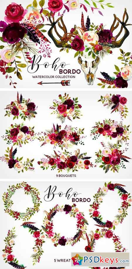 Boho Bordo Watercolor Flowers 1341159 187 Free Download