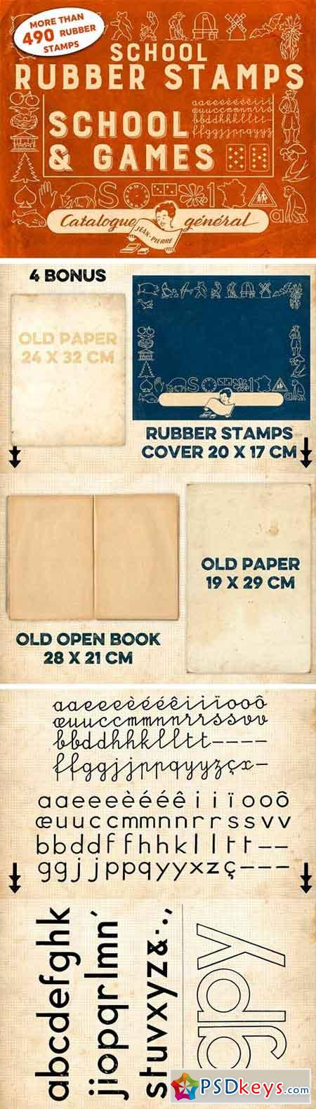 RUBBER STAMPS SCHOOL+GAMES +4 BONUS 1331597