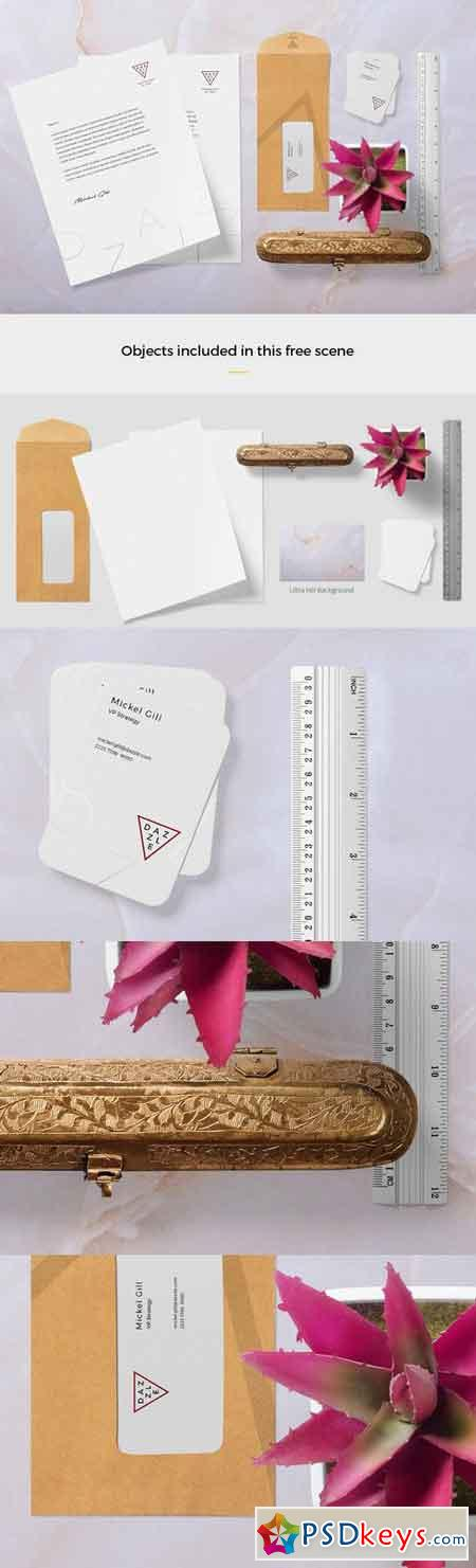 Stationery Mockup Scene With 6 Objects + 4K Background