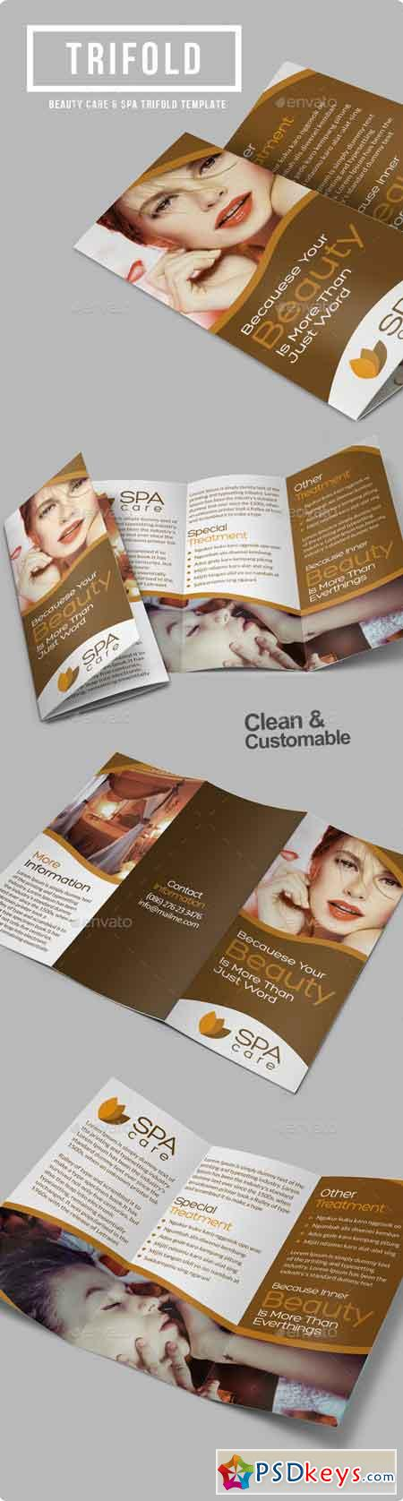 Beauty Care Spa Trifold Brochure 8895148