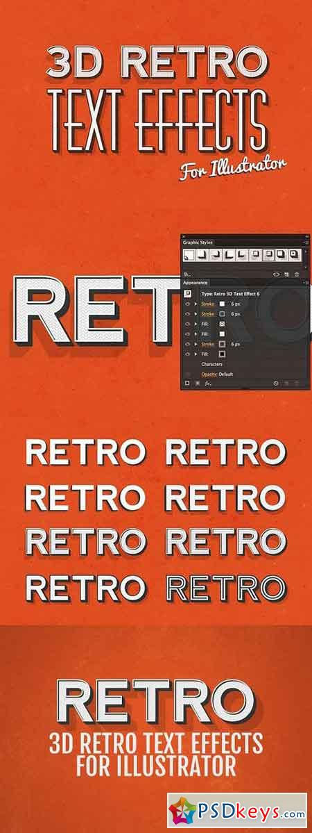 3D Retro Text Effects - Illustrator 61598