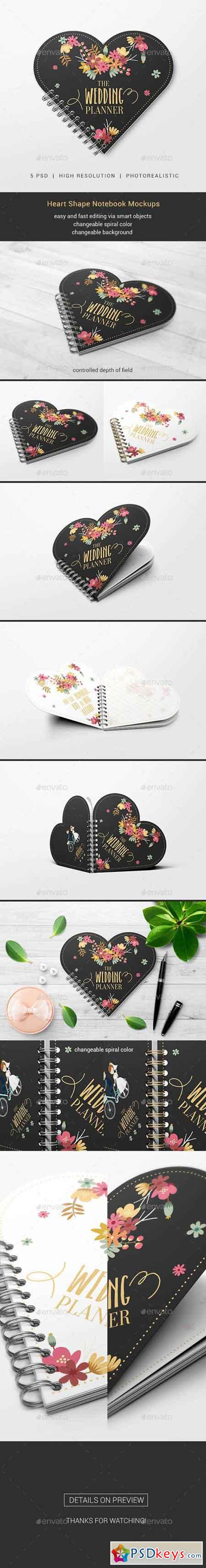 Heart Shape Notebook Mockups 19872404