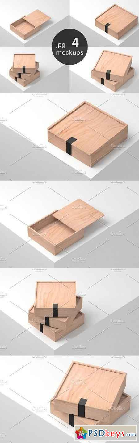 Wooden Boxes Mockup - 4 jpg files 1209010