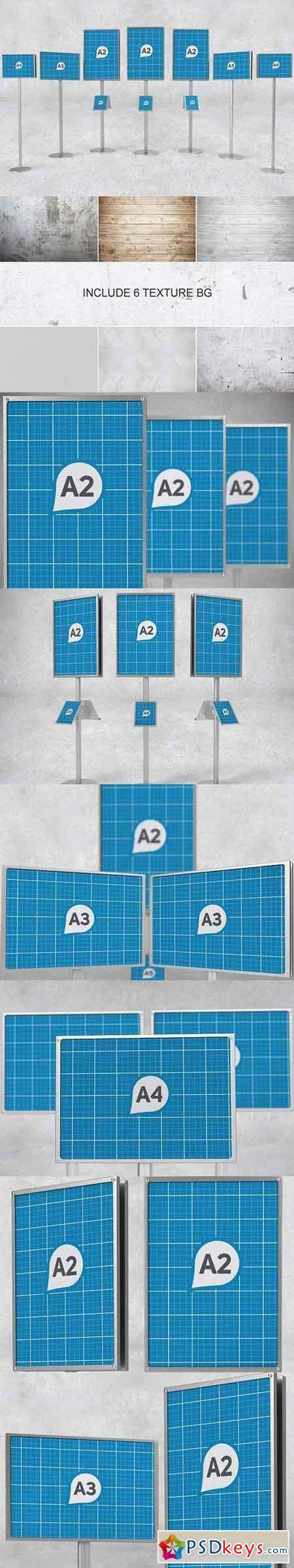 6 poster design photo mockups 57079 - Sign Holder Poster Stands Mockups 1206420