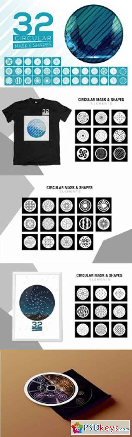 32 Vector Circular Mask - Shapes
