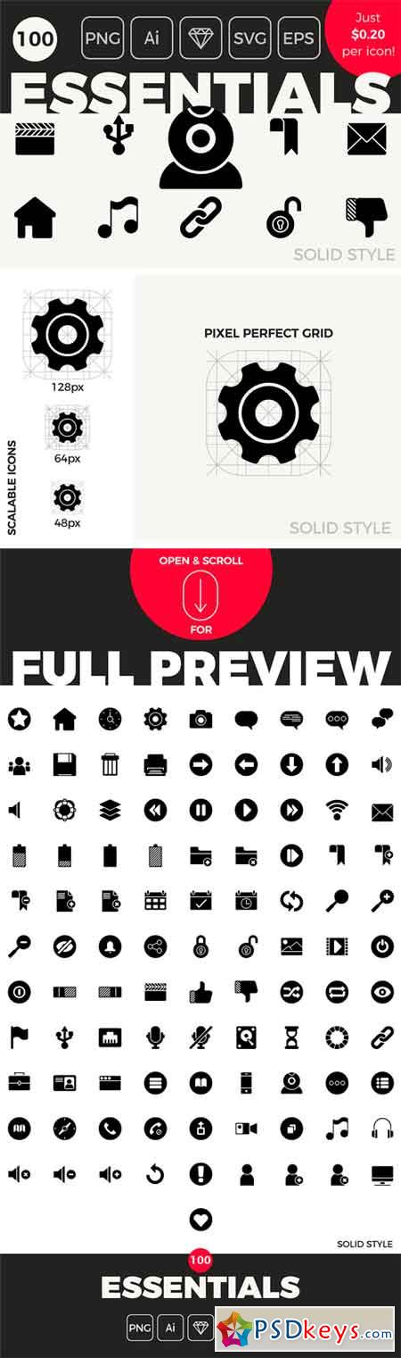 100 Essential Icons - Solid Style 1407913