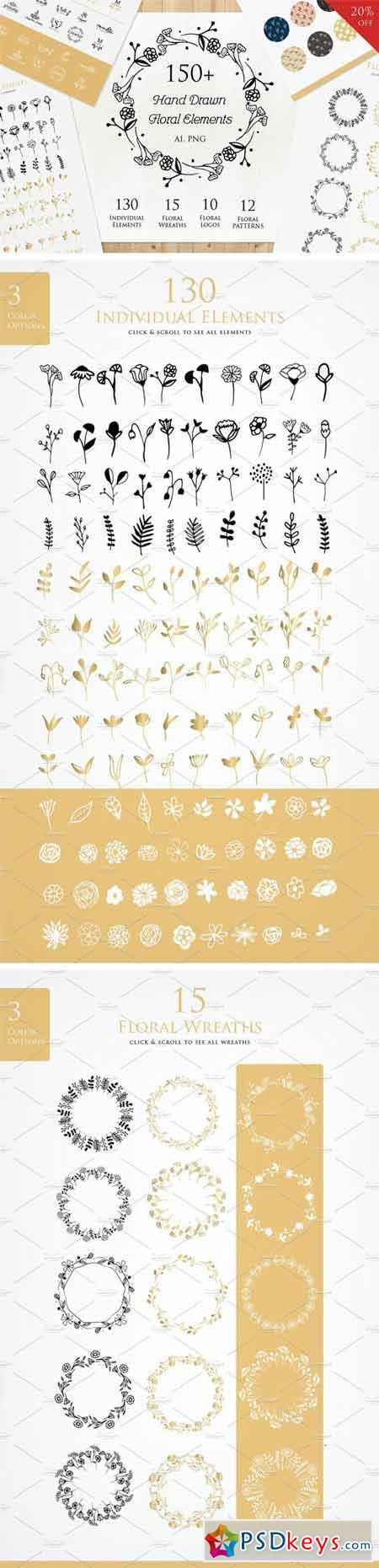 Hand Drawn Floral Elements 1435161