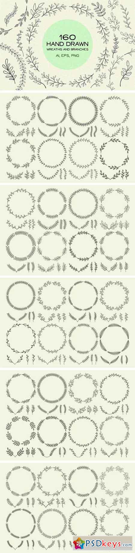 160 Hand Drawn Wreaths and Branches 1436271