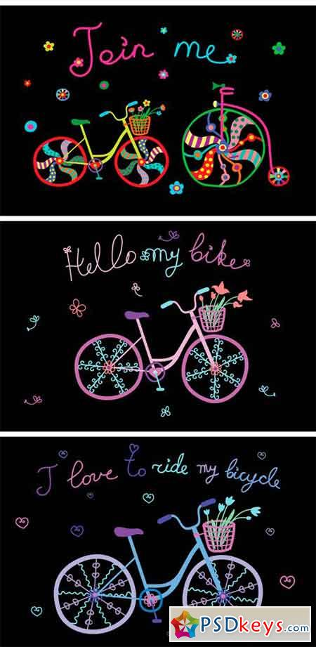 Cute Hand Drawn Bicycles 1434926