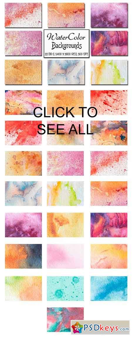 22 Watercolor Backgrounds. Vol 1 1380331