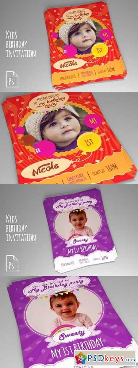 Kids Birthday Invitation PSD vol.1-2 914976 - 1046899 » Free ...