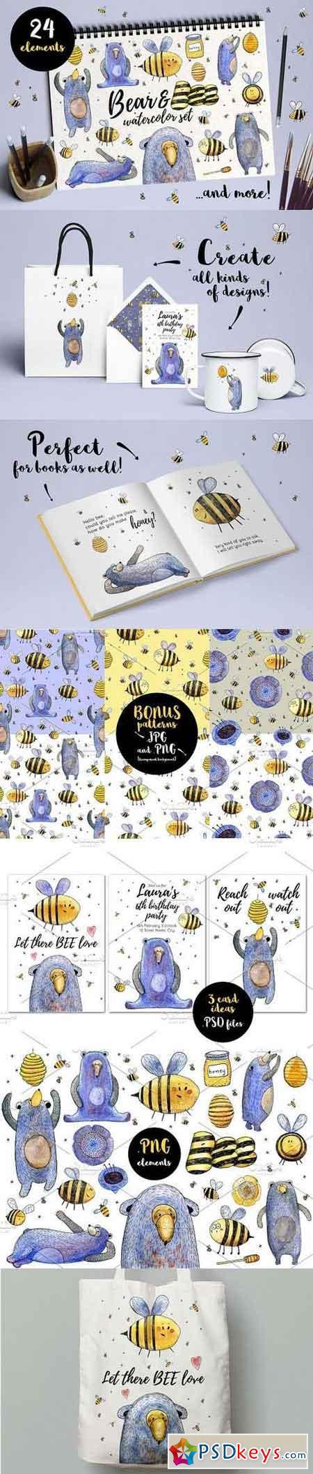Bear and Bee Watercolor Set 1233153
