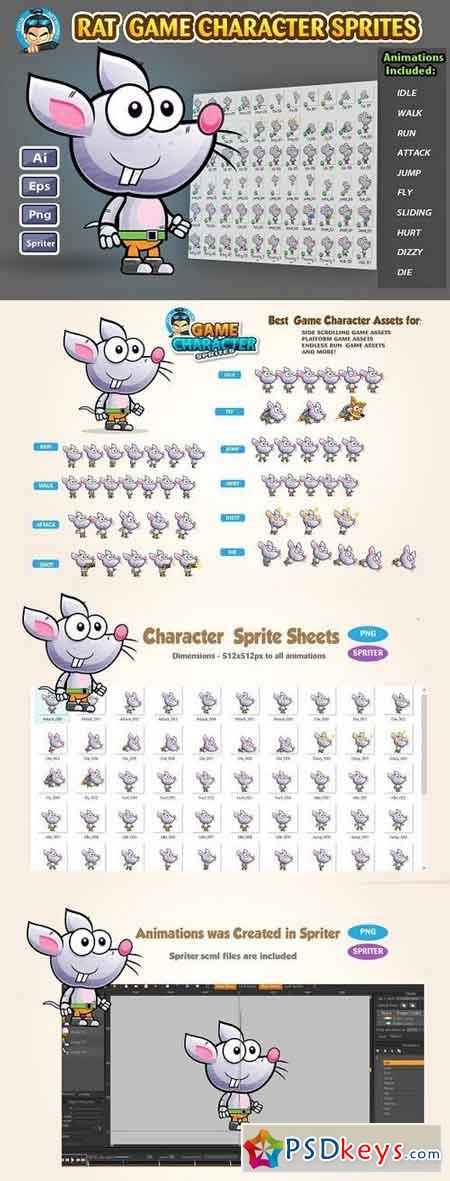 Rat 2D Game character Sprites 1232117 » Free Download Photoshop