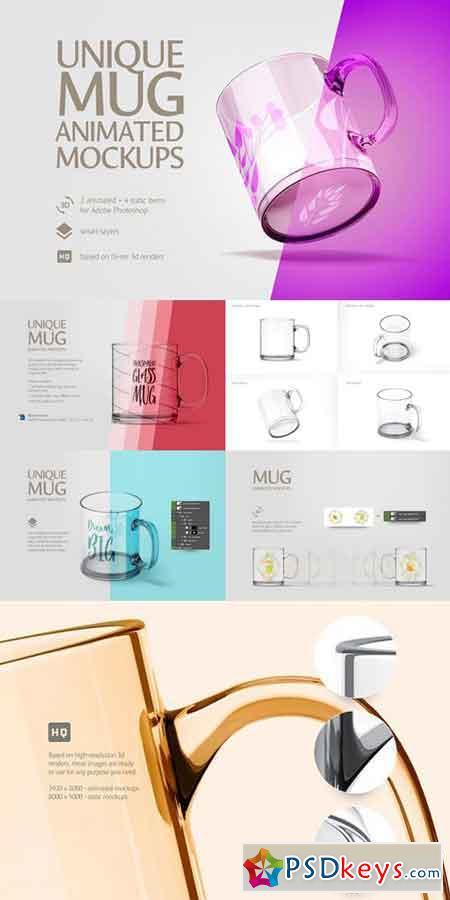 Unique Glass Mug Animated Mockup 1447812