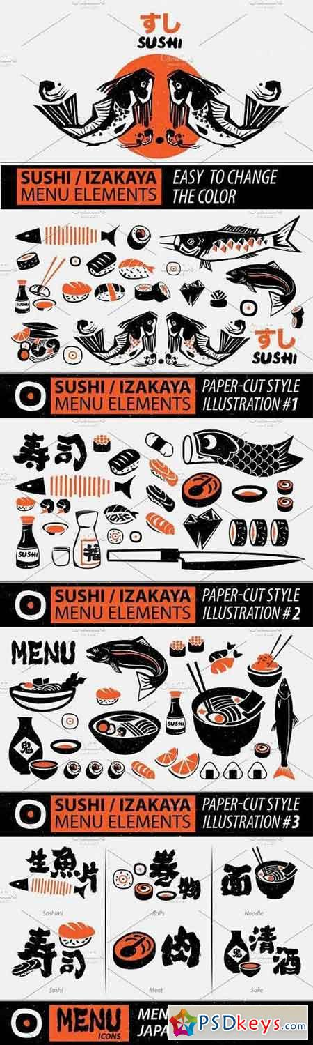 Papercut Style Sushi Elements 1409263