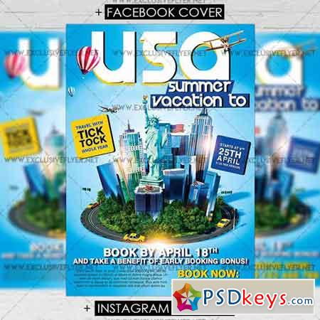 Vacation to USA - Premium A5 Flyer Template