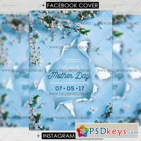 Mother Day Brunch Premium A5 Flyer Template Free Download