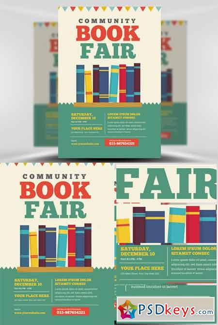 Community Book Fair Flyer Template Free Download Photoshop Vector