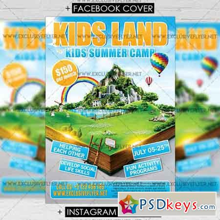 Kids Land Premium A5 Flyer Template Free Download Photoshop