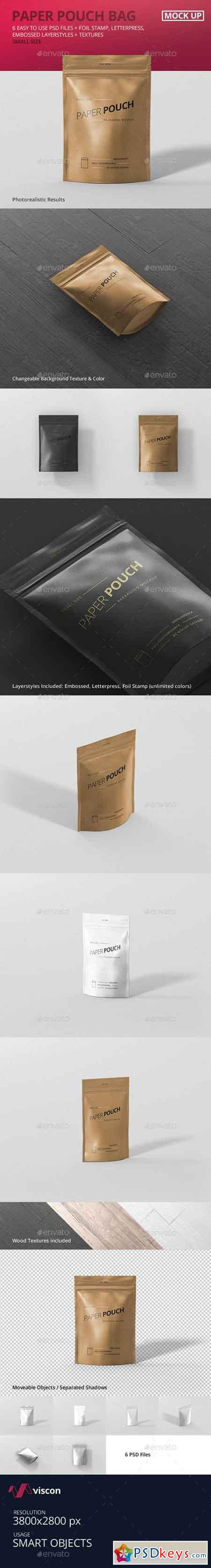 Paper Pouch Bag Mockup Small Size 19389708